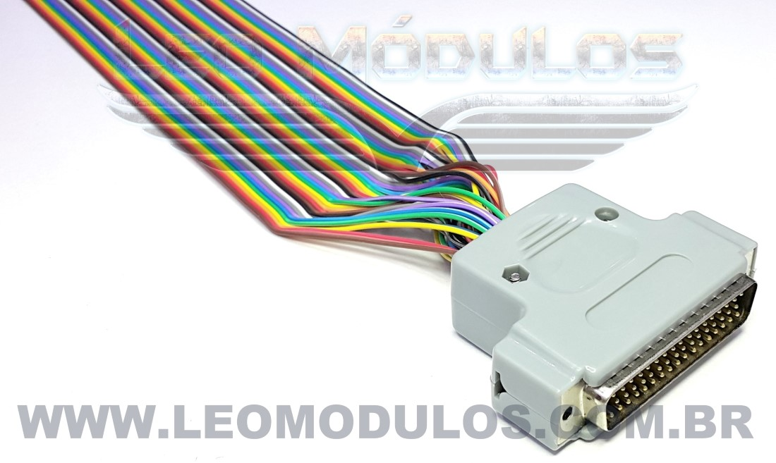 Conector DB50 Macho Montado no Cabo Flat Colorido com 35cm