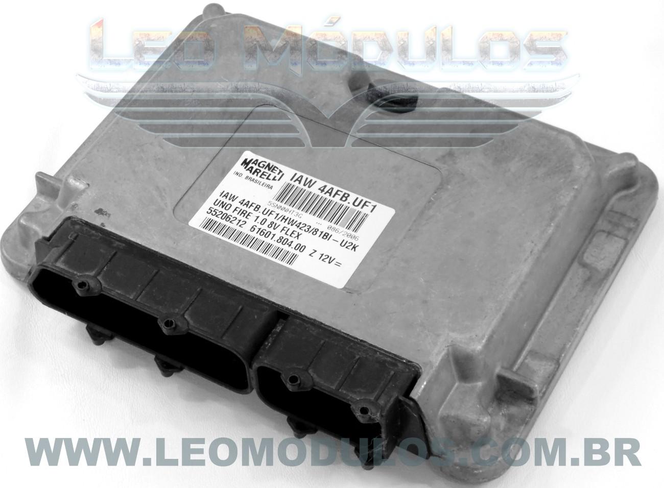 Módulo de injeção marelli - IAW 4AFB.UF1 - 55206212 - Fiat Uno Fire 1.0 8V Flex - 61601.804.00 IAW 4AFBUF1 - Leo Módulos