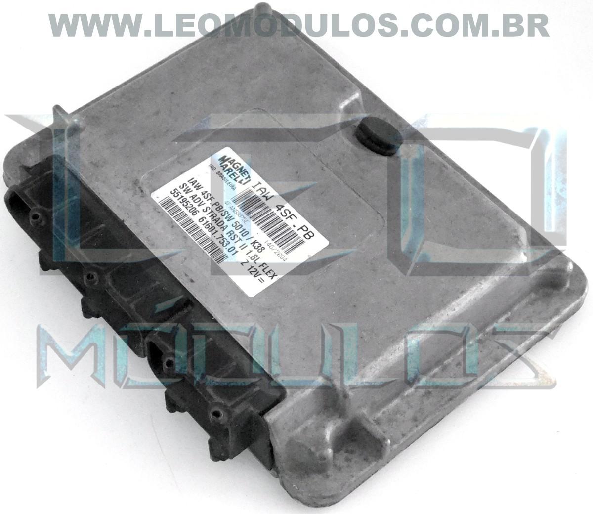Módulo de injeção marelli - IAW 4SF.PB - 55195206 - Fiat Strada 1.8 8V Flex - 61601.753.01 IAW 4SFPB - Leo Módulos