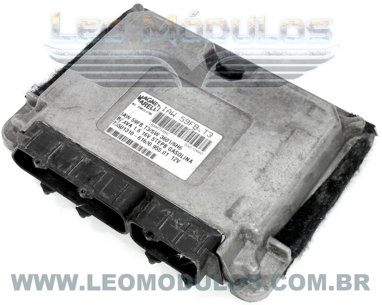 Módulo de injeção marelli - IAW 59FB.T3 - 73501310 - Fiat Brava 1.6 16V Gasolina - 61601.955.01 IAW 59FBT3 - Leo Módulos